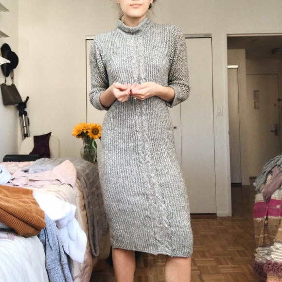 Thrifted Gray Sweater Dress